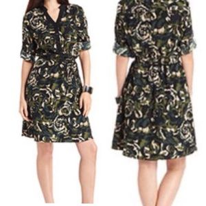 AGB Floral Green Camouflage V Neck Dress Size 2